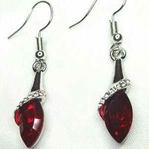 """Jewelry - 1.5"""" Sil Pl Deep Red Crystal Pierced Earrings"""